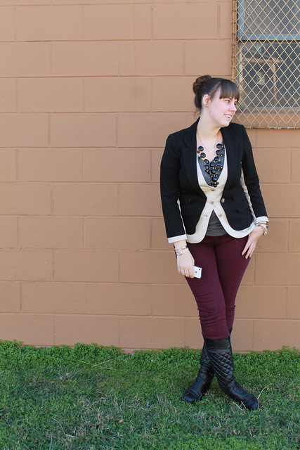 Two-tone blazer outfit