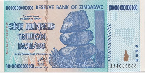 Zimbabwe 100 Trillion note