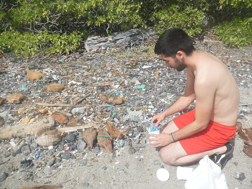 Collecting plastic Debris and water samples from Kamilo Beach, South of big Island Hawaii