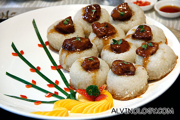 An east-west fusion dish - Auspicious glutinous rice with Foie Gras and preserved meat