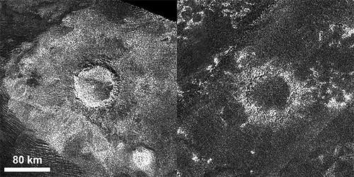 I crateri di Titano, Sinlap e Soi, fotografati dalla sonda Cassini