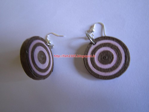 Handmade Jewelry - Paper Disk Earrings (Pink & Brown) (2) by fah2305