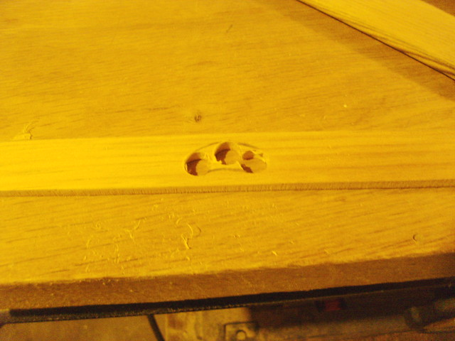 Three holes drilled...