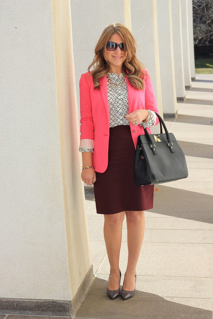 Burgundy and Pink Work Outfit