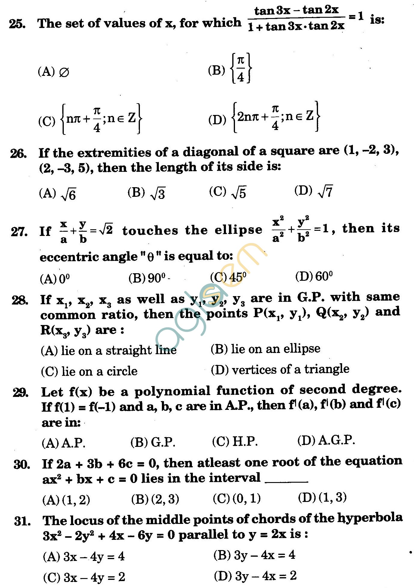NSTSE 2009 Class XI PCM Question Paper with Answers - Mathematics