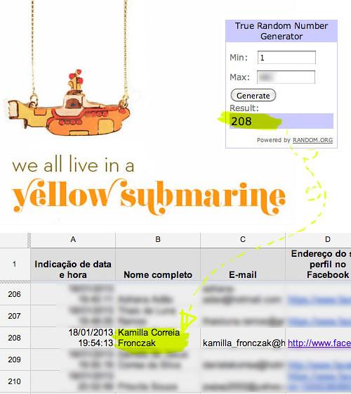 Resultado do sorteio: colar Yellow Submarine da Laços de Filó