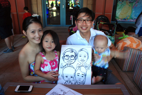 caricature live sketching for Mark Lee's daughter birthday party - 17