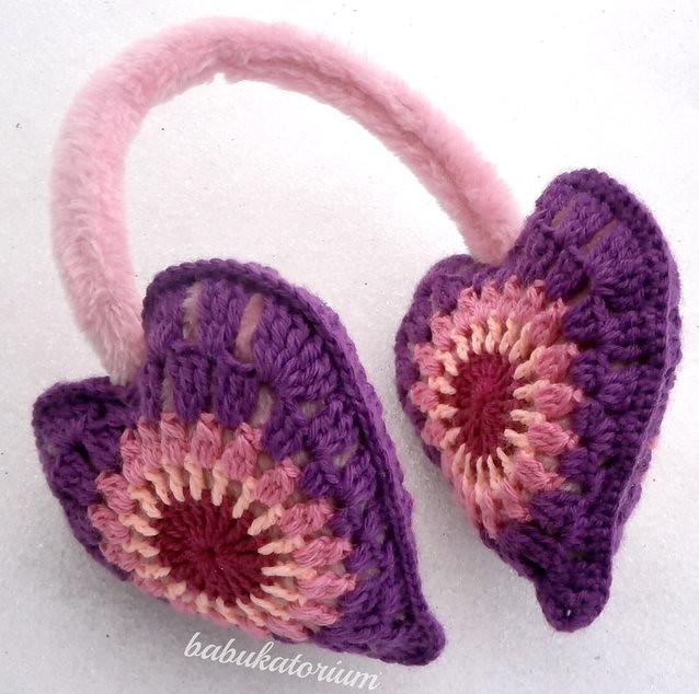 Crochet Earmuffs - Pastel Granny Heart