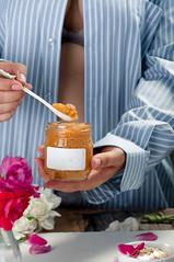 orange puree in a jar