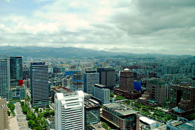Panoramic window view of Taipei