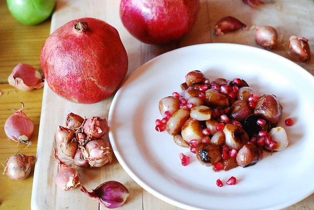 Balsamic braised caramelized shallots with pomegranate