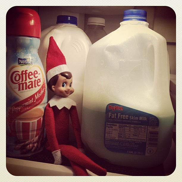Oh no! Snowball turned our milk green! #elfontheshelf