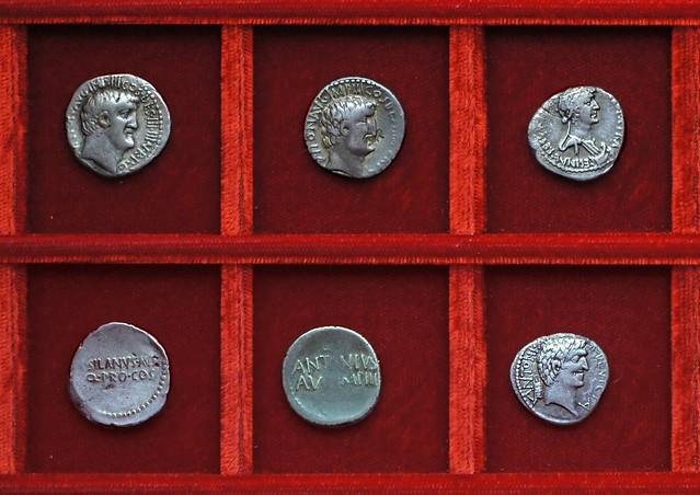 RRC 542 M.SILANVS Antony Junia, RRC 543 CLEOPATRAE REGINAE Antony Cleopatra, Ahala collection Roman Republic