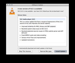 VLC 2.0.5 アップデート