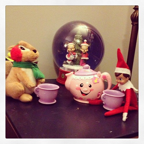 Tea Time with Mr. Squirrel #elfontheshelf