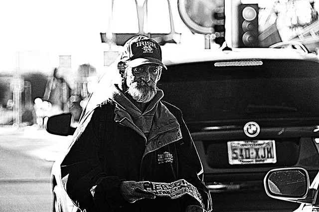 Ed...He stands between Traffic lanes in the street asking for Donations...From Baker Cal...... On The Strip 12 yrs !!!