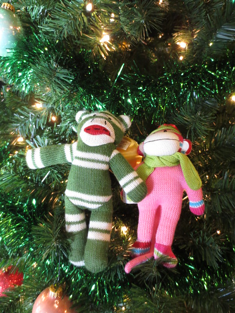 Sock Monkey and Scarf Monkey in a tree