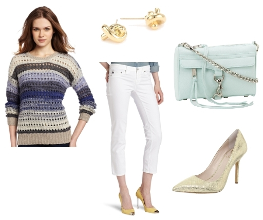 nautical outfits - Sapphire multi sweater with white cropped jeans