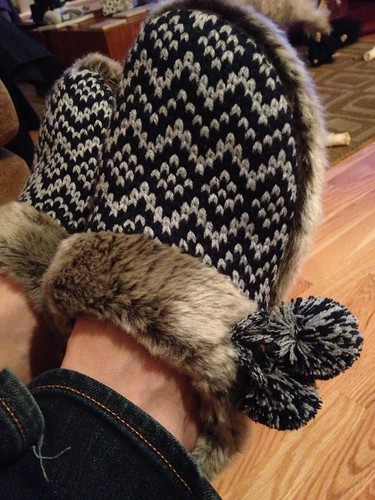 7:00 pm #hourlyphoto - Admiring my new slippers.