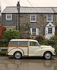 """Half-timbered"" Morris Traveller at Budock"