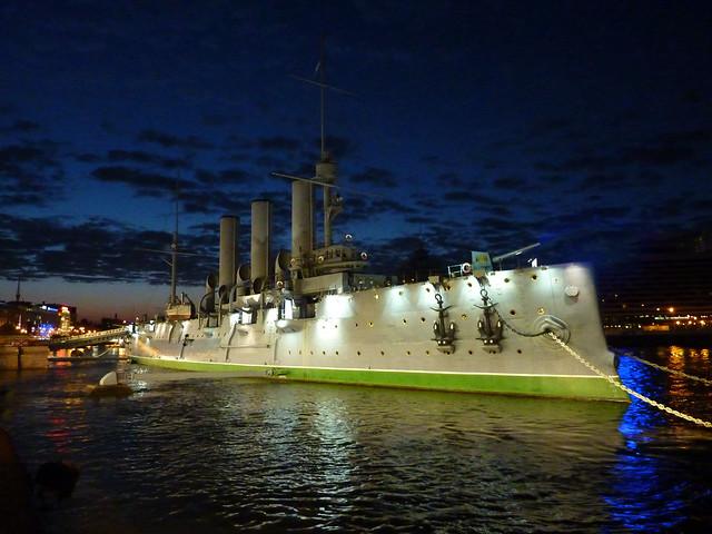 Russian cruiser 'Aurora' at night