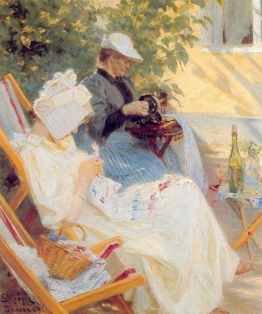 Peder Severin Kroyer-Marie  y su madre en el jardin