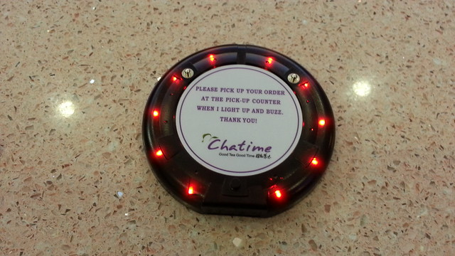 Chatime uses RFID (radio frequency identification) buzzers at Chatime SM Lanang Premier Davao