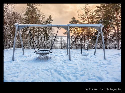 trees winter sunset lake snow ice playground finland swing talvi tampere mygearandme grury