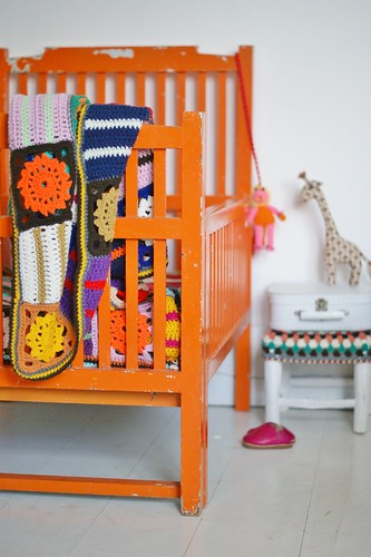 rock-a-bye baby, thy cradle is orange by wood & wool stool