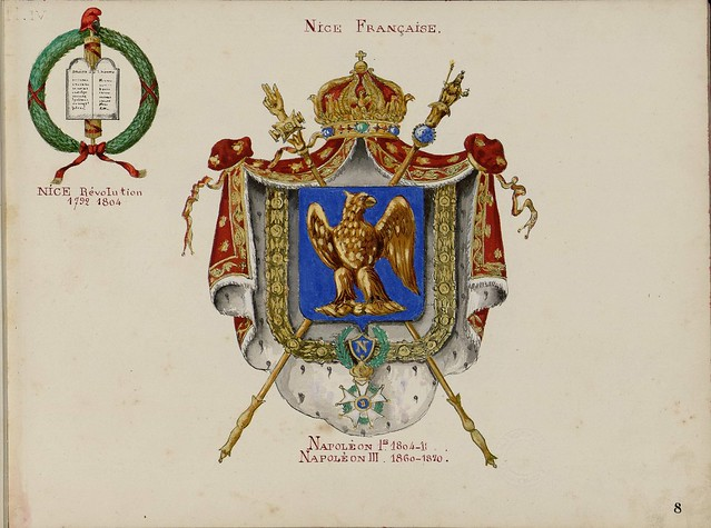 high status french armorial; sceptres cross over crowned shield draped by mantle