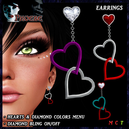 $55l ~ *P* Linked Hearts Earrings ~Colors & Bling~ transfer