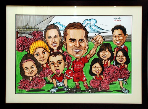 group caricatures for Cisco - framed