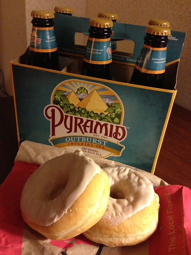 Pyramid Beer and Honey Dew Maple Glazed Donuts