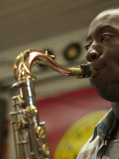 Calvin Johnson Jr., sitting in with The Dirty Dozen Brass Band.