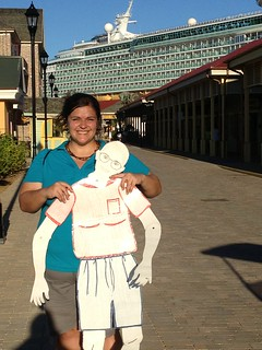 Jeanie with OtherBug outside our ship, Navigator of the Seas