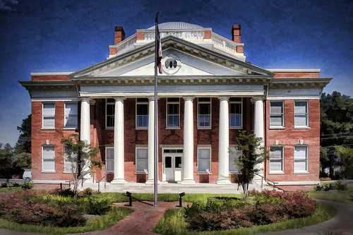 effingham county georgia southeast usa court house topaz simplify columns brick flagpole landscaped small town southern coastalplain