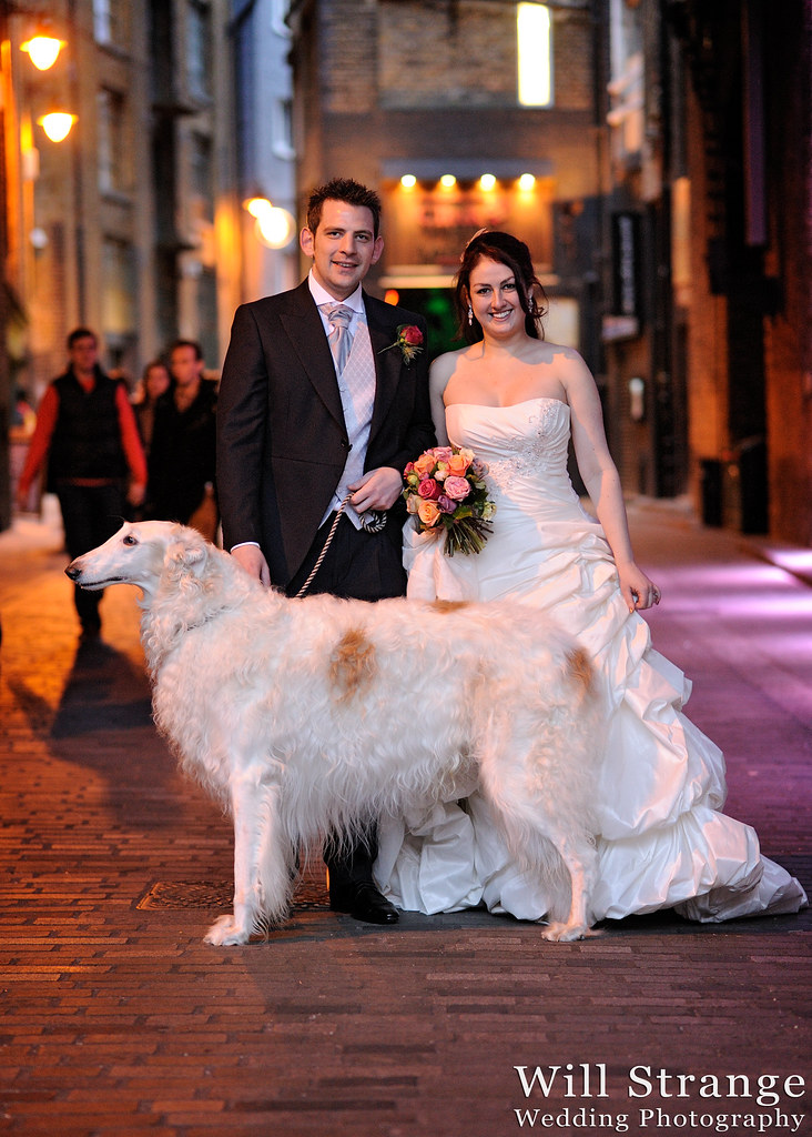 Bride and Groom with a Russian Wolfhound