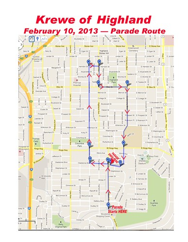 New, extended route for Krewe of Highland Parade on 2.10.13 by trudeau