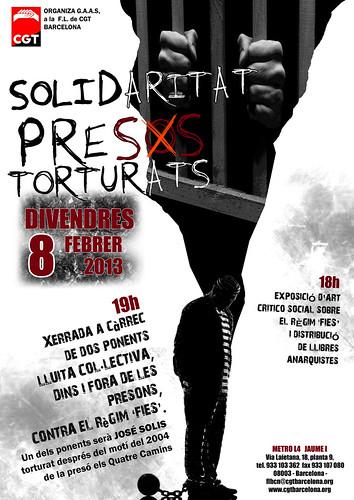 solidaritat presos torturats a Barcelona 8 de febrer