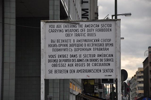 Old sign at Checkpoint Charlie