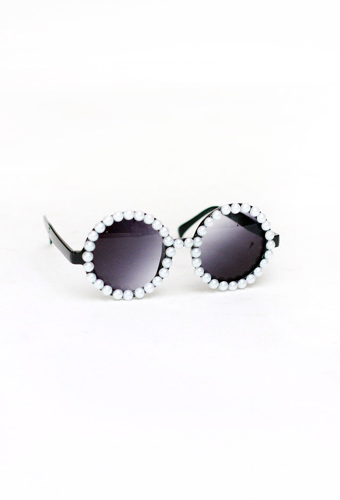 round pearl sunglasses by Tarte Vintage at shoptarte.com