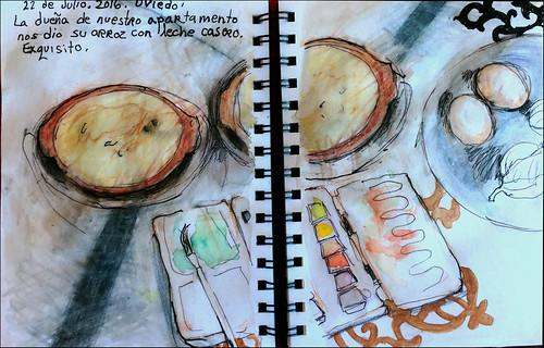 Oviedo. La dueña de nuestro apartamento nos dio su arroz con leche casero. Exquisito. 22 de julio, 2016.