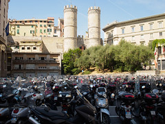 Porta Soprana and scooters, Genoa