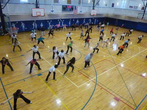 Promoting fun physical activity, First Baptist Church in Sanford hosts an exercise class open to the entire community.