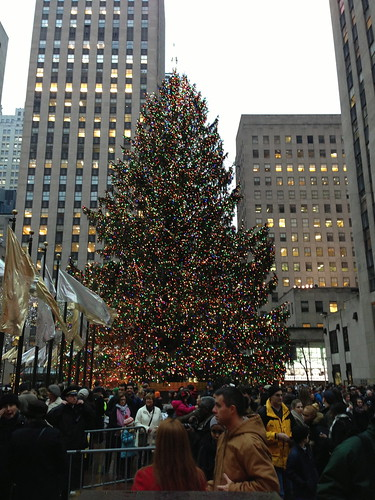Rockefeller Center Holiday tree, decorated and mobbed