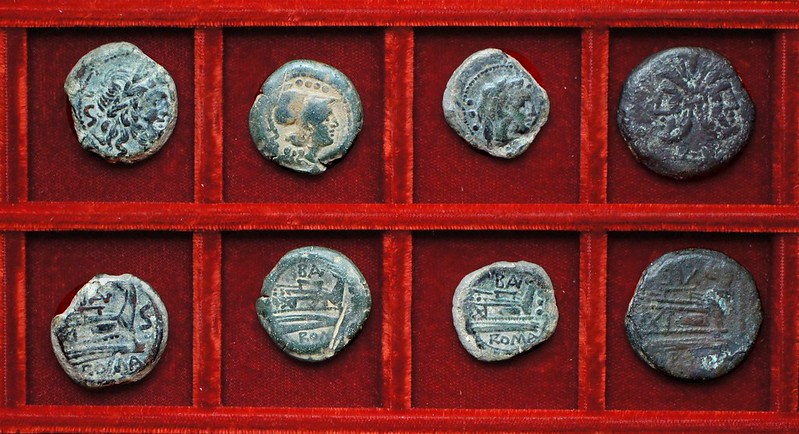 RRC 179 BAL Naevia bronzes, RRC 180 variety SIX in place of SAX As, Ahala collection, coins of the Roman Republic