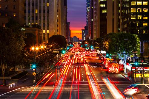 california sunset losangeles downtown lighttrails bluehour dtla downtownlosangeles 2470mm canon7d ©shabdrophoto