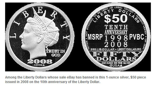 Liberty Dollar $50 coin