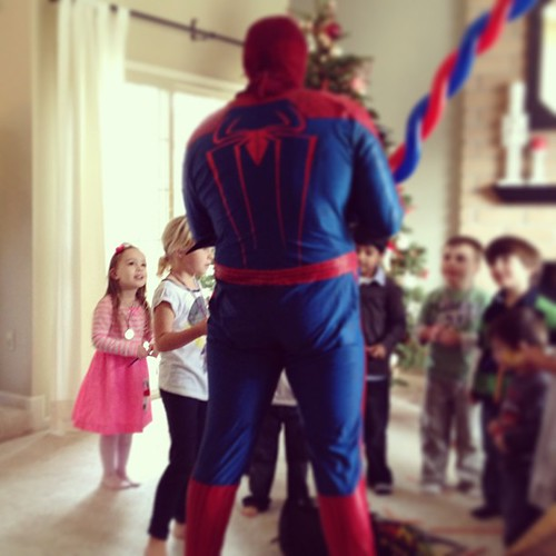 At her cousin's Spider-Man birthday party. Mind blown.