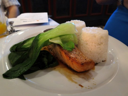 Atlantic salmon with coconut rice, bok choy and soy ginger dressing